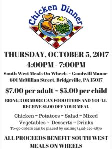 Chicken Dinner @ South West Meals On Wheels-Goodwill Manor | Bridgeville | Pennsylvania | United States